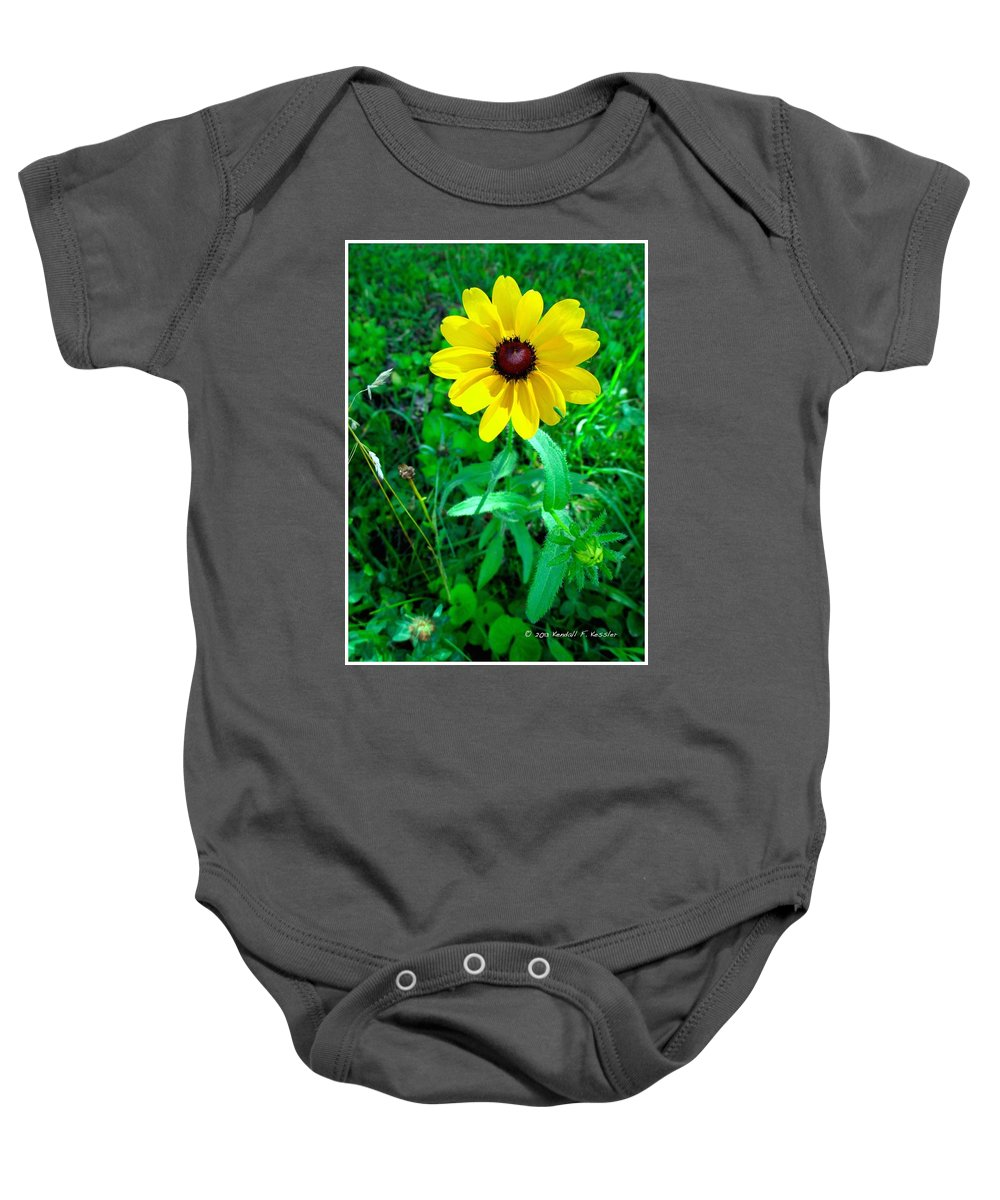 Yellow Baby Onesie featuring the photograph Black Eyed Beauty by Kendall Kessler