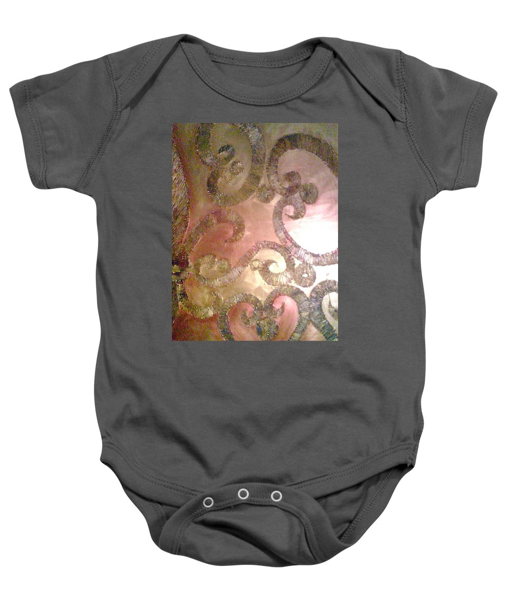 Abstract Metallic Baby Onesie featuring the painting Black Gold by Charis Kelley