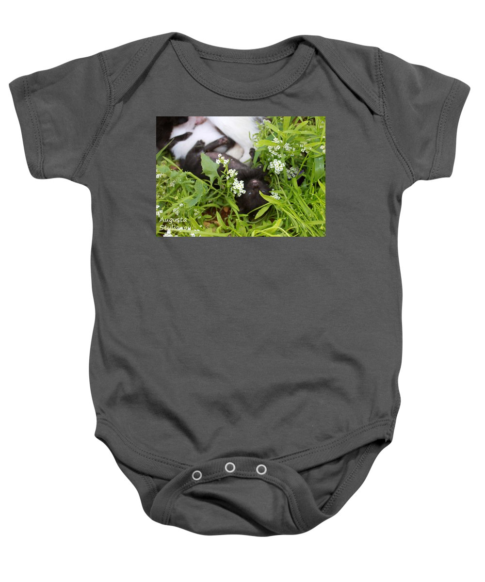 Cat Baby Onesie featuring the photograph Black Kitten by Augusta Stylianou