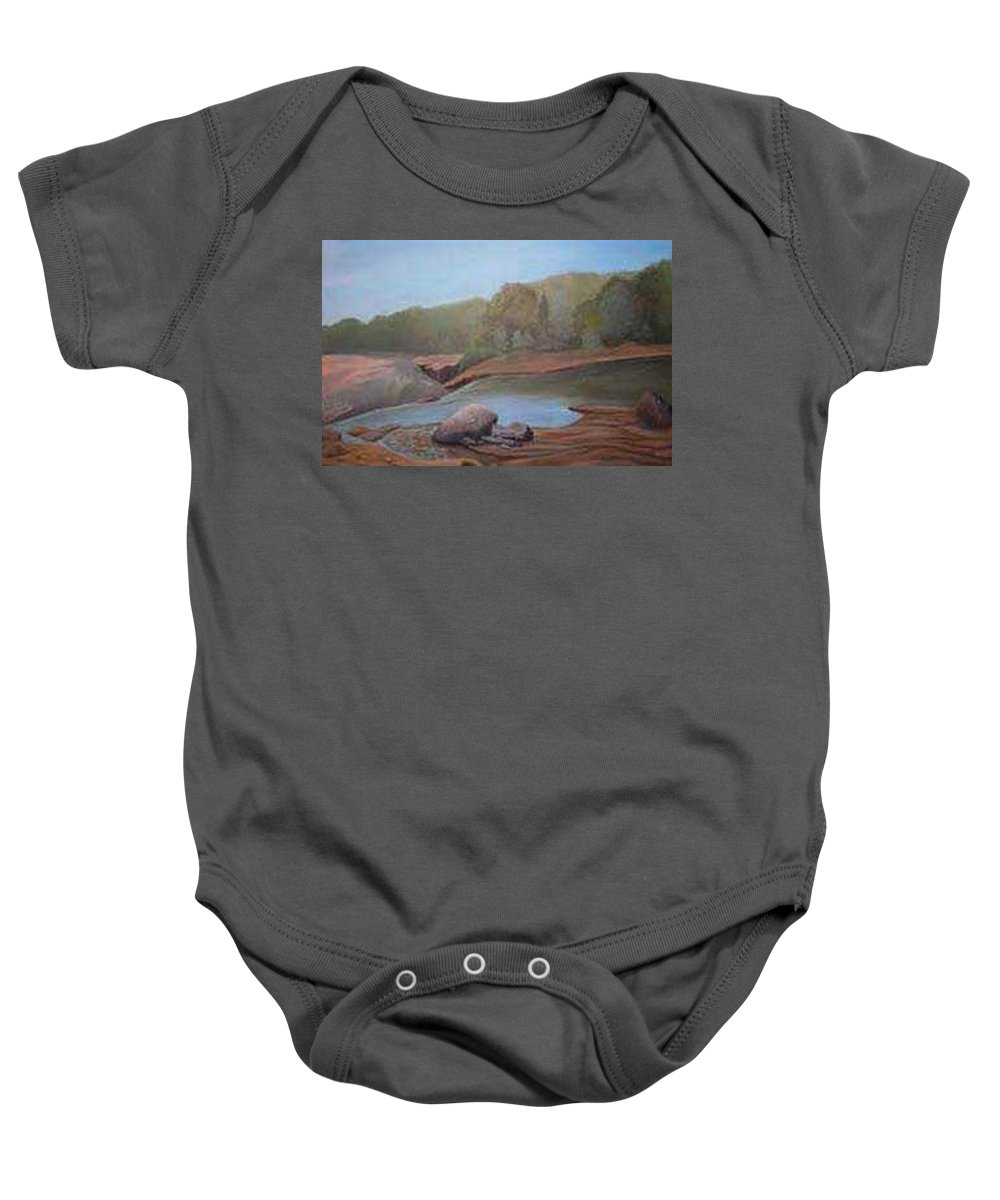 Rick Huotari Baby Onesie featuring the painting Black River Falls by Rick Huotari