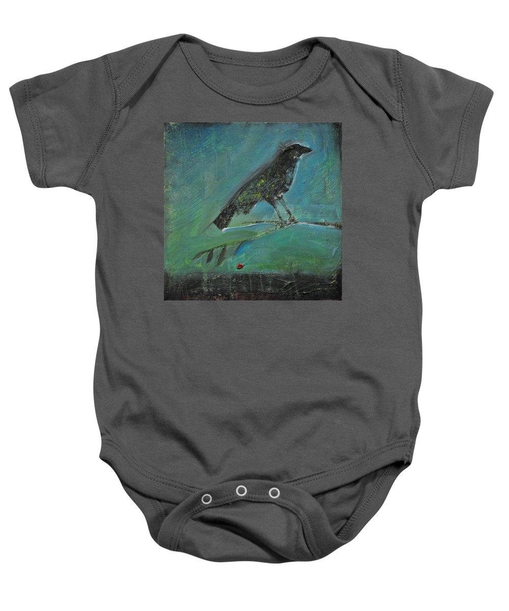 Bird Baby Onesie featuring the painting Blackbird Redberry by Tim Nyberg