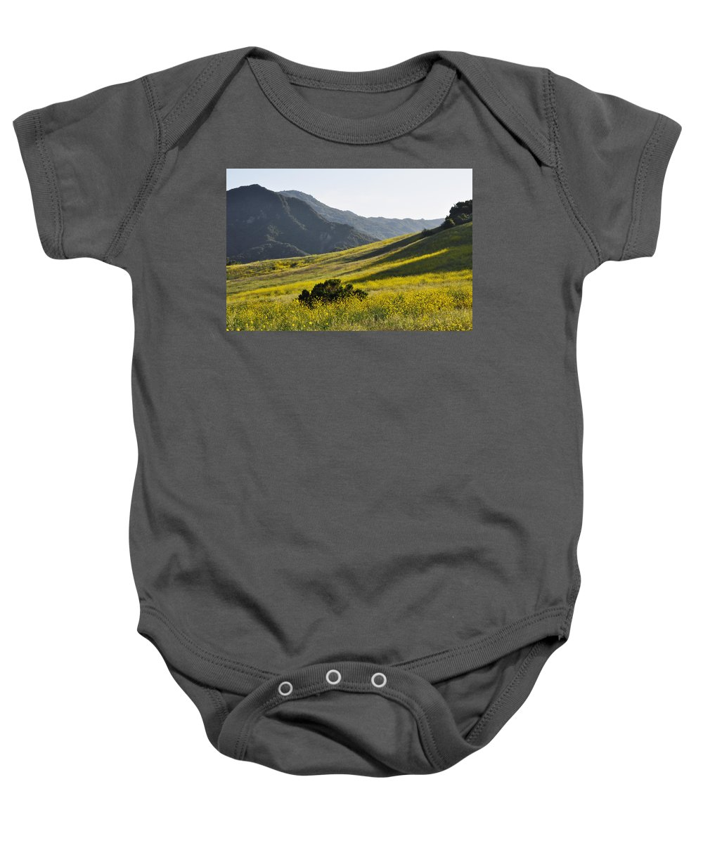 Pacific Coast Oak Baby Onesie featuring the photograph Blanket Of Malibu Creek Wildflowers by Kyle Hanson