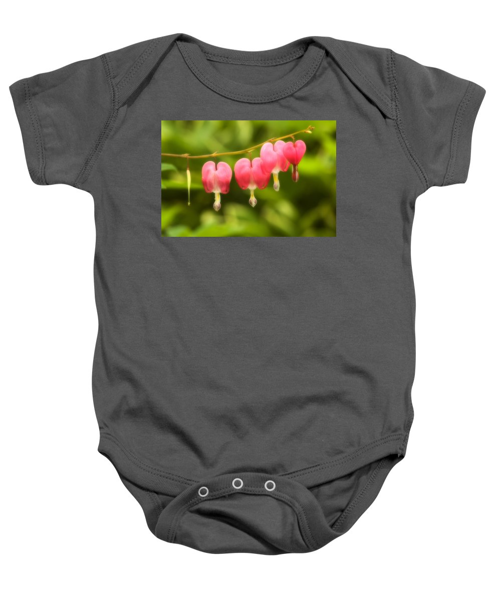 Flower Baby Onesie featuring the photograph Bleeding Hearts by Sebastian Musial