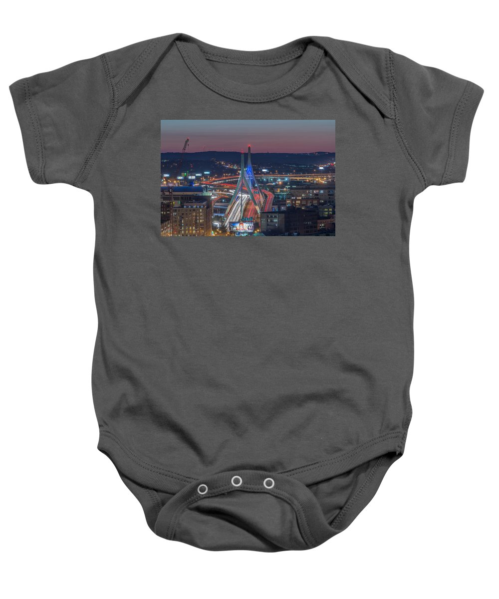 Boston Baby Onesie featuring the photograph Blue And Red Zakim by Bryan Xavier