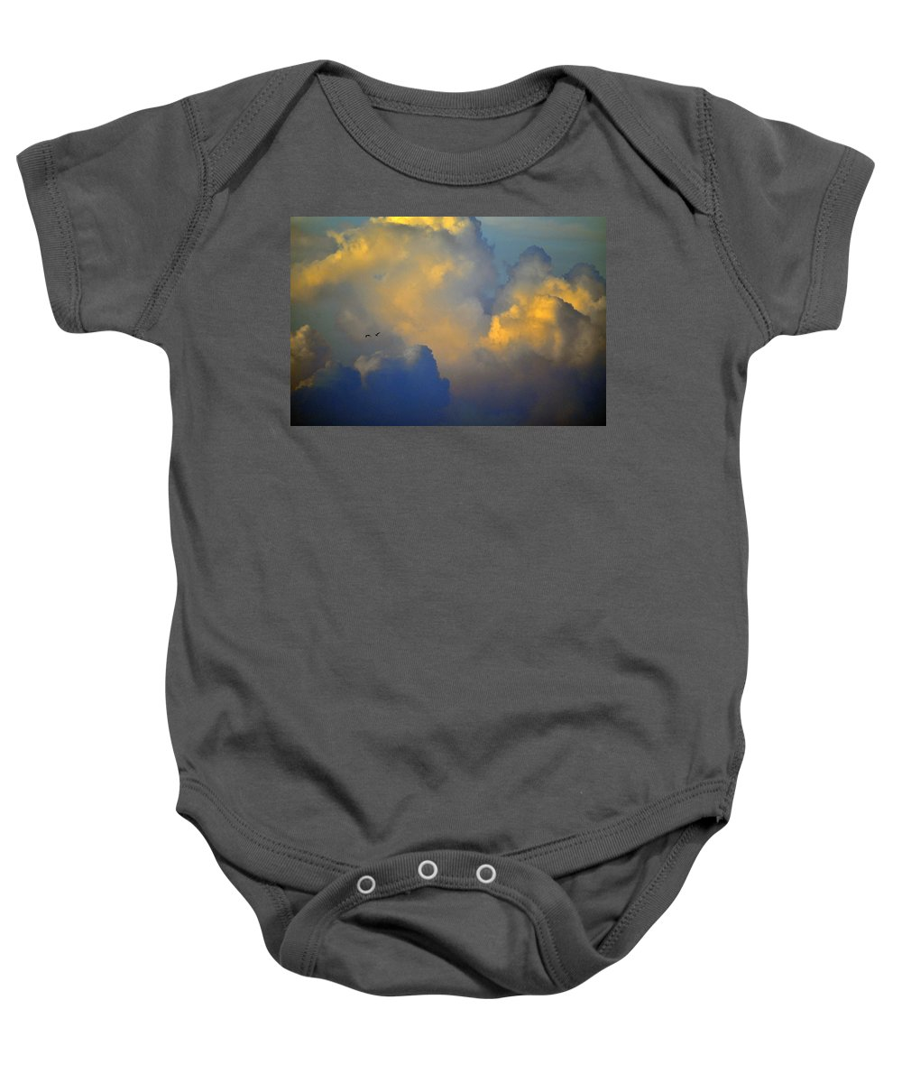 Color Baby Onesie featuring the photograph Blue And Yellow Clouds At Sunset With Birds Usa by Sally Rockefeller