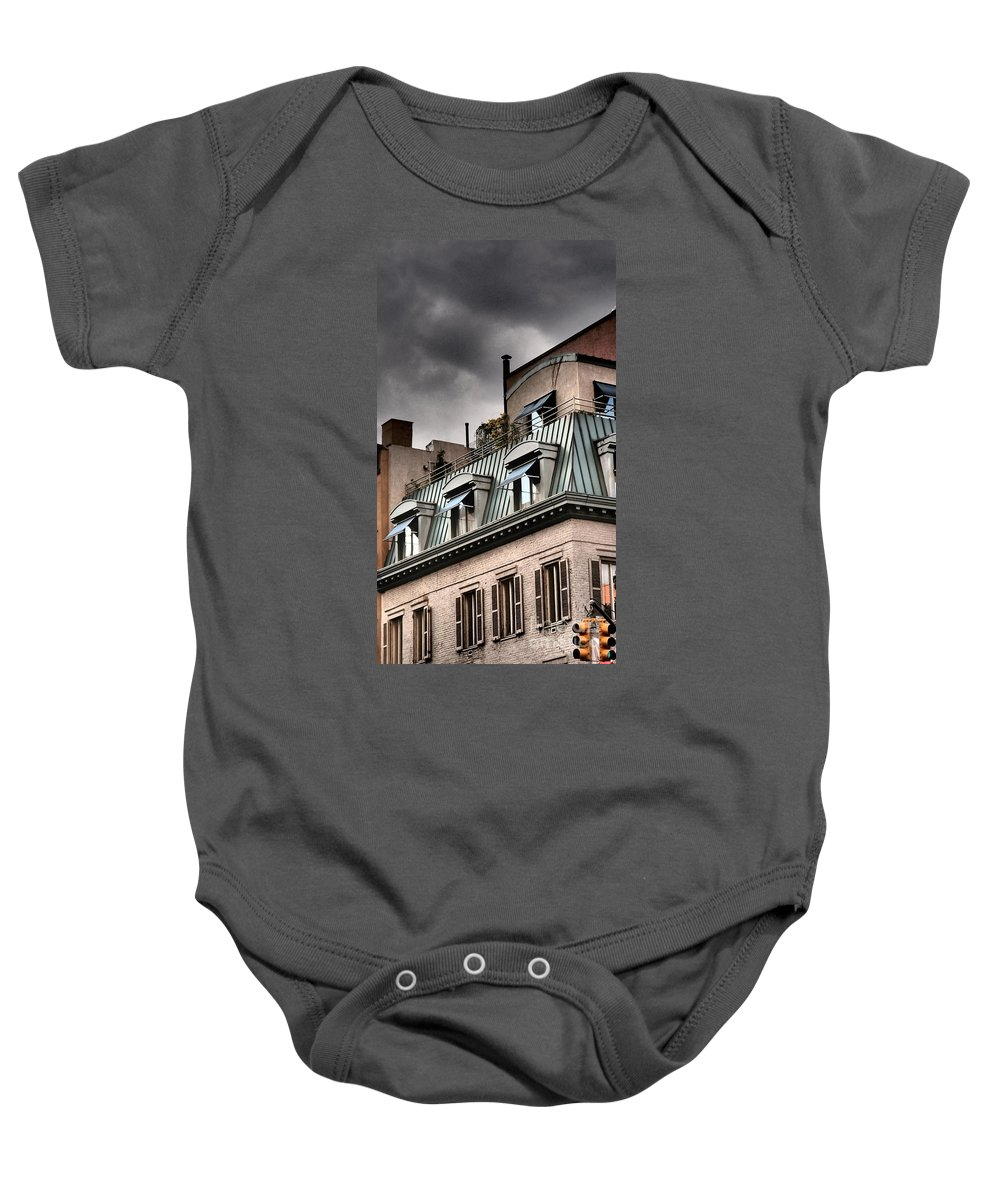 New York Baby Onesie featuring the photograph Blue Awnings With Yellow Light by Miriam Danar