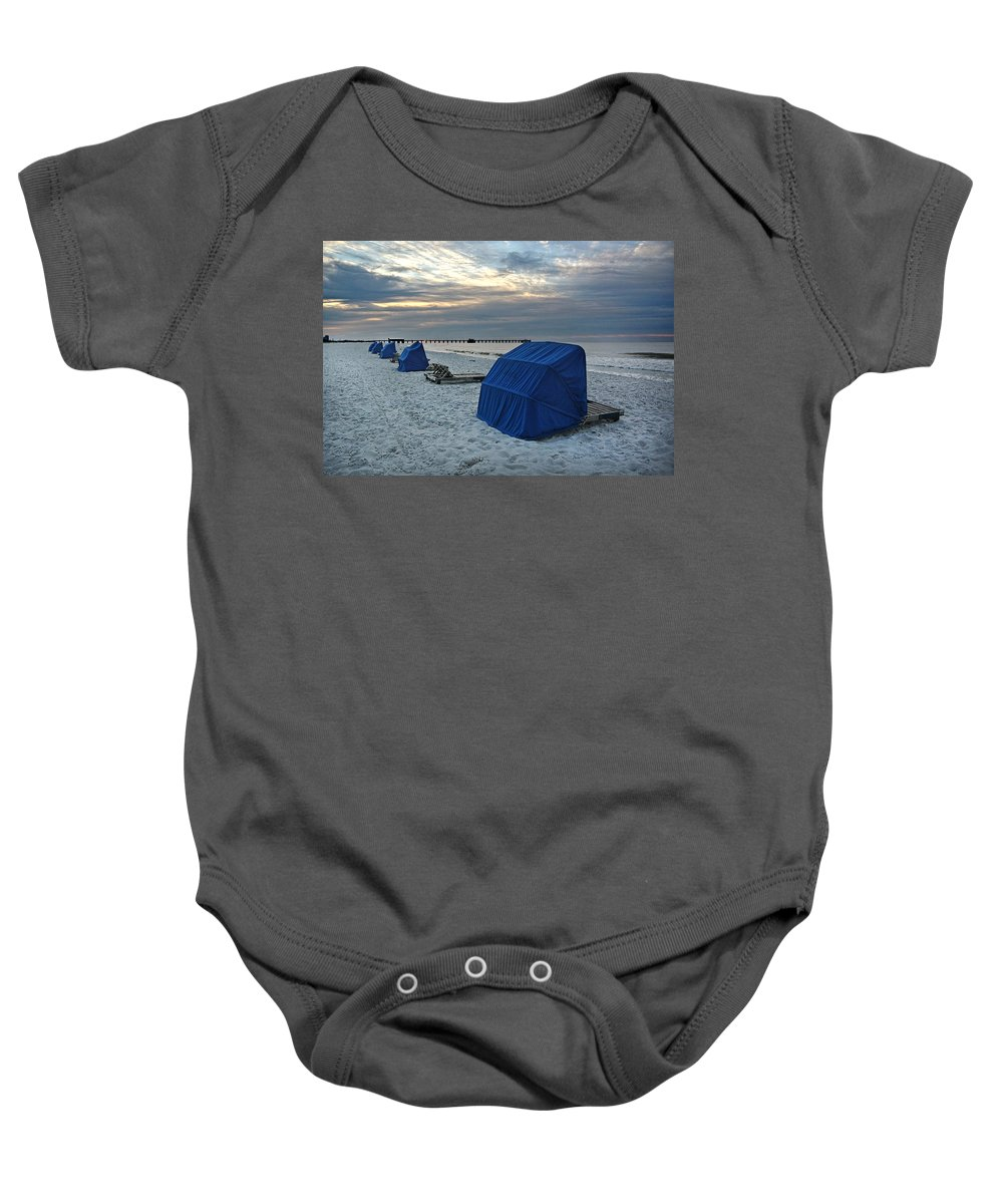 Alabama Baby Onesie featuring the digital art Blue Beach Chairs by Michael Thomas