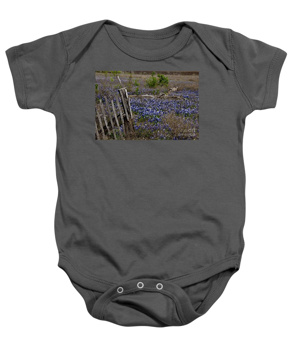 Wildflowers Baby Onesie featuring the photograph Blue Bonnet Fence V2 by Douglas Barnard