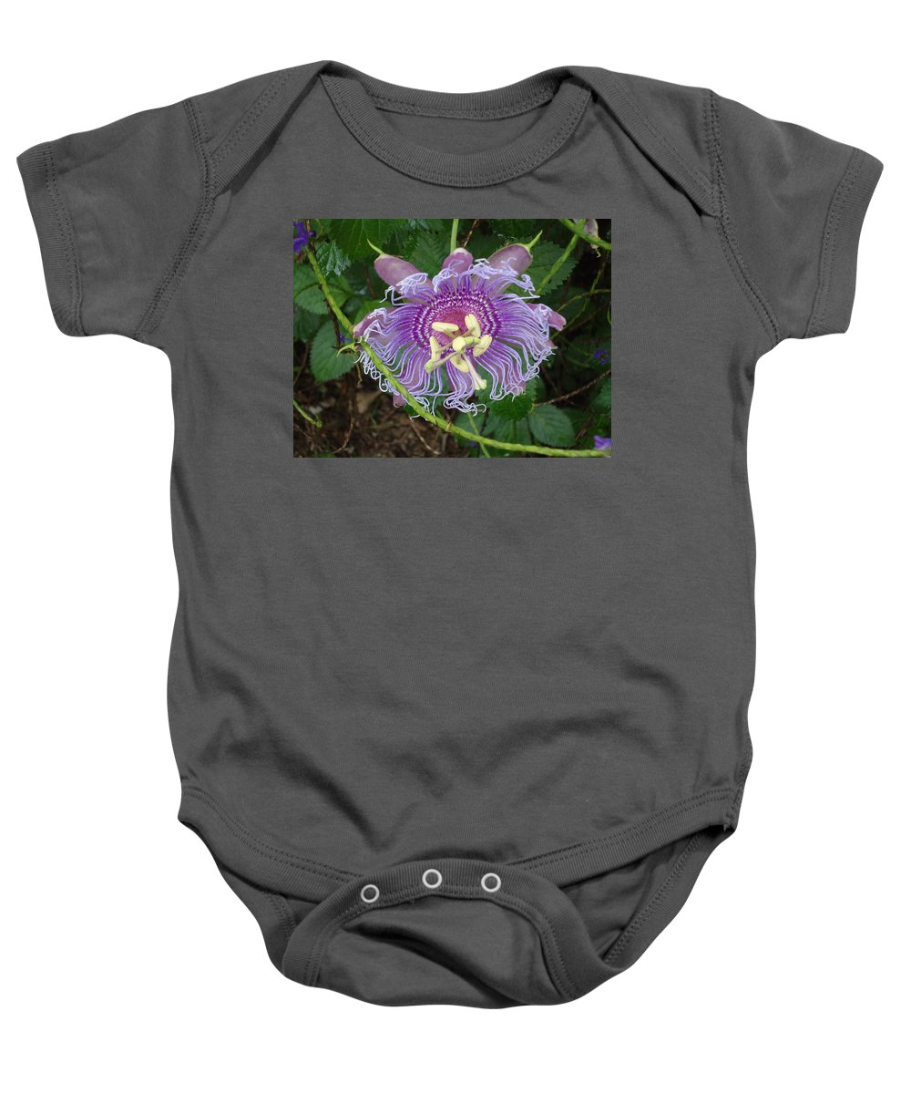 Blue Flower Petals Baby Onesie featuring the photograph Blue Flower Blooming by Patricia Twardzik