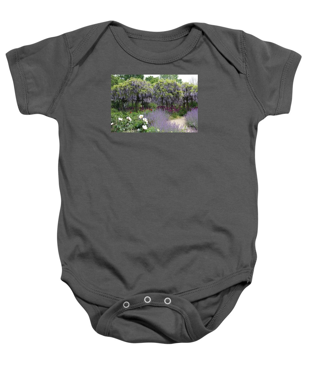 Flowers Baby Onesie featuring the photograph Blue Flowergarden With Wisteria by Christiane Schulze Art And Photography