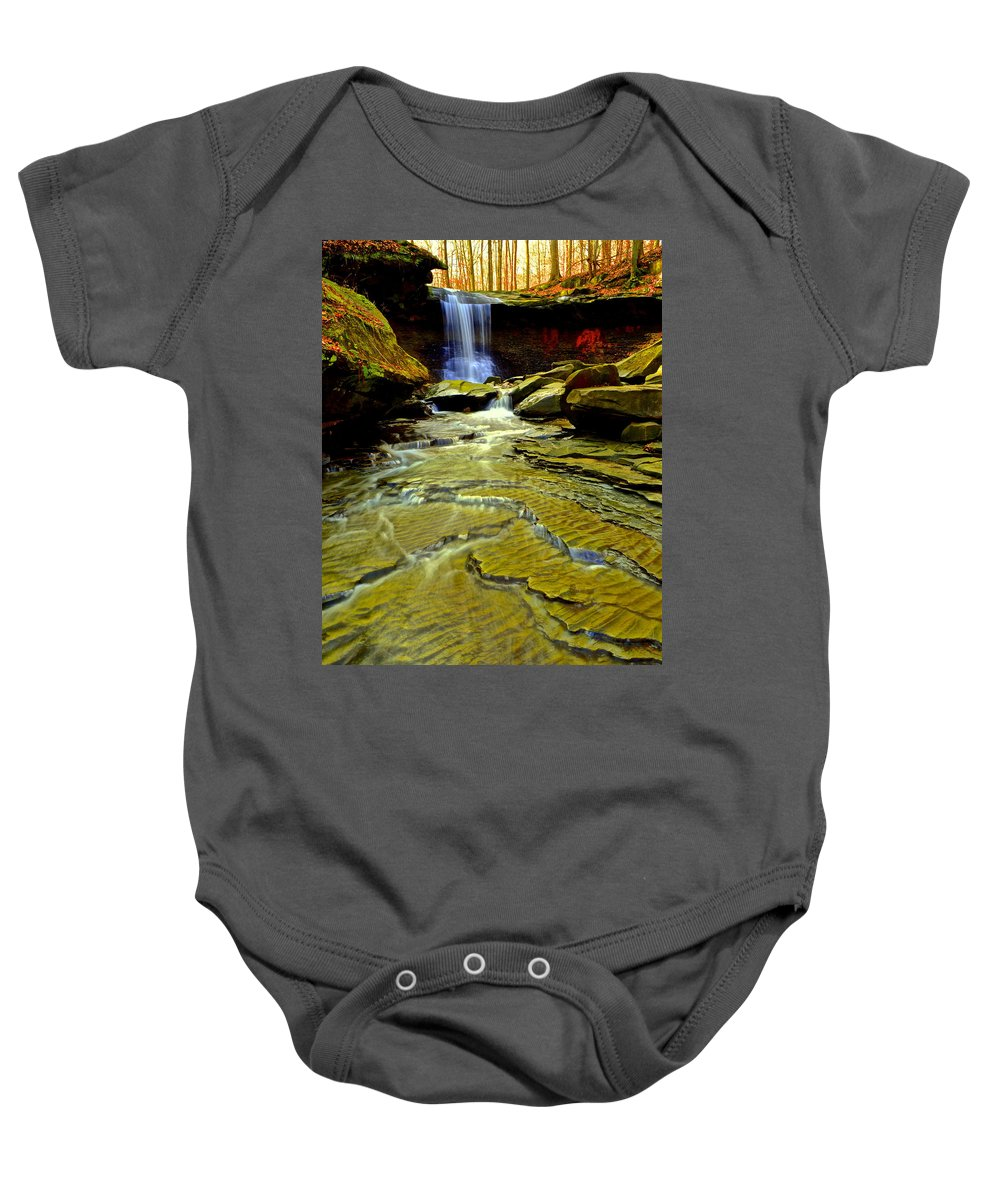 Cleveland Baby Onesie featuring the photograph Blue Hen Falls by Frozen in Time Fine Art Photography
