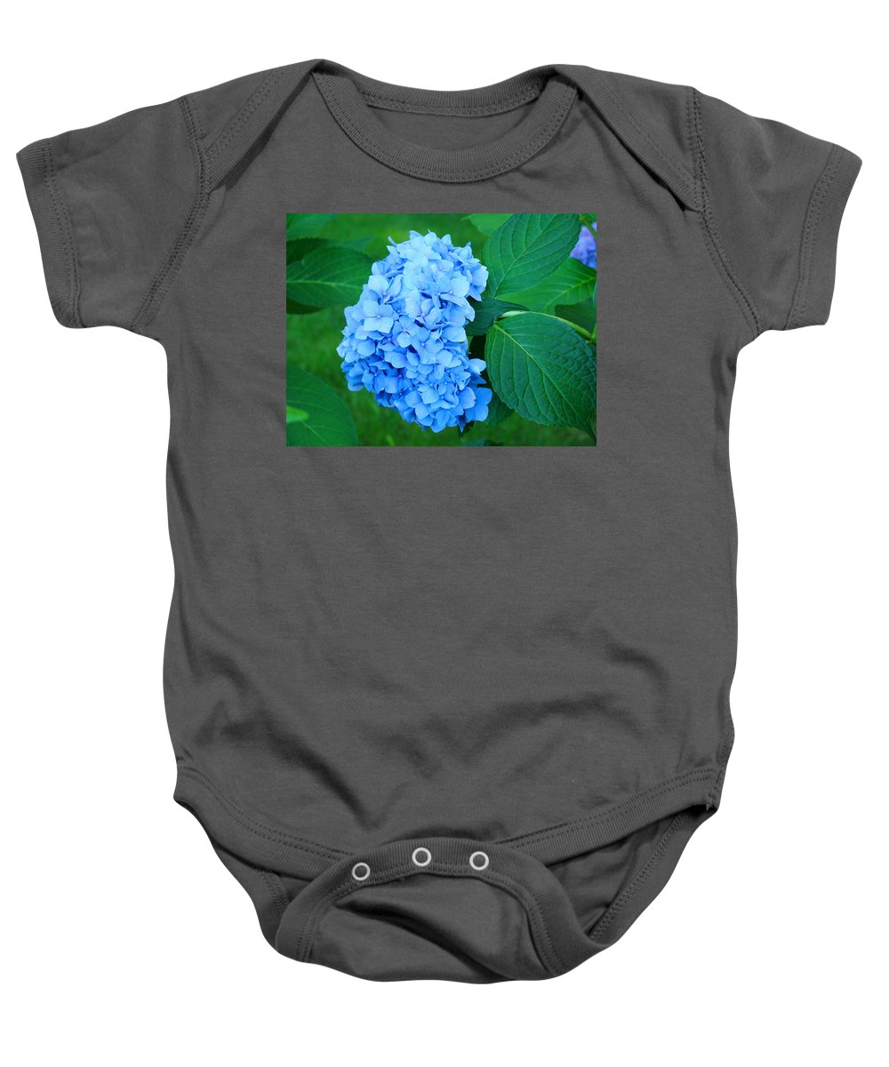 Nature Baby Onesie featuring the photograph Blue Hydrangea Flower Art Prints Nature Floral by Baslee Troutman