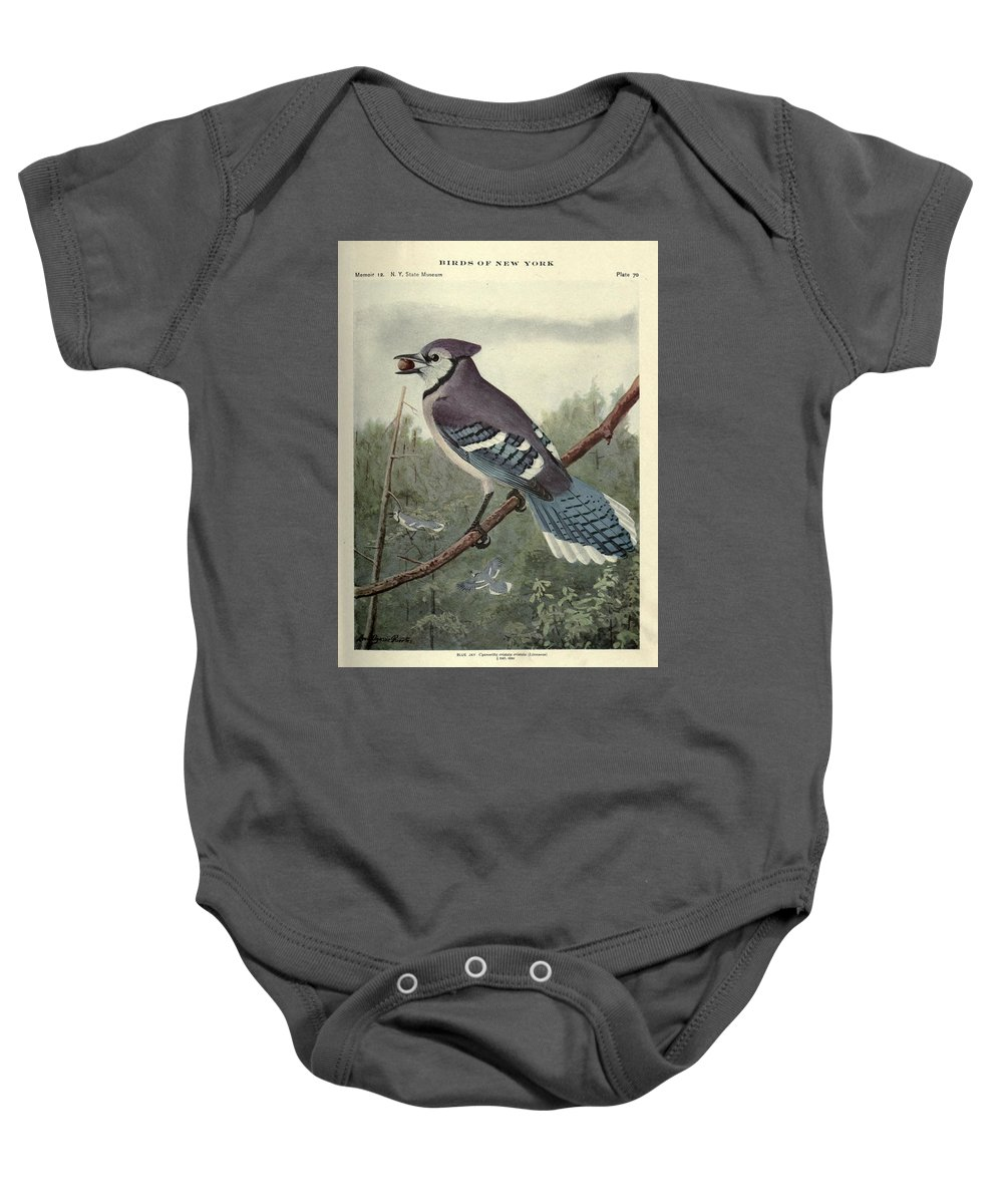 Blue Baby Onesie featuring the painting Blue Jay by Philip Ralley