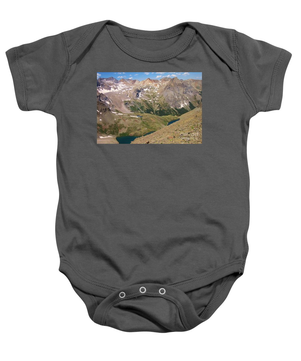Blue Lakes Baby Onesie featuring the photograph Blue Lakes by Tonya Hance