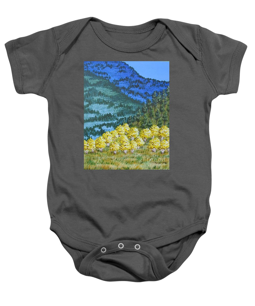 Mountains Baby Onesie featuring the painting Blue Mountain by Lori Ziemba