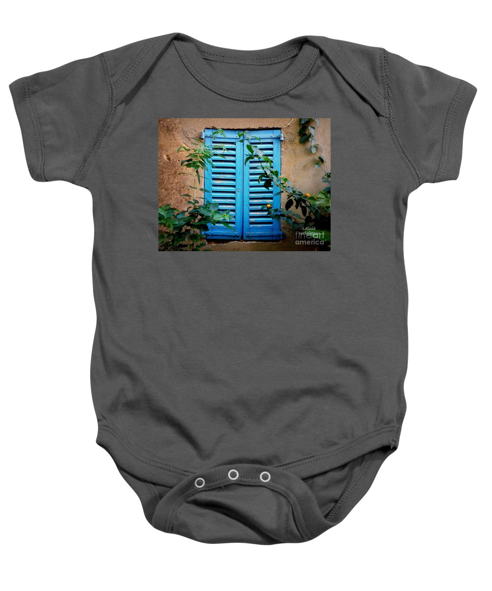 Window Baby Onesie featuring the photograph Blue Shuttered Window by Lainie Wrightson