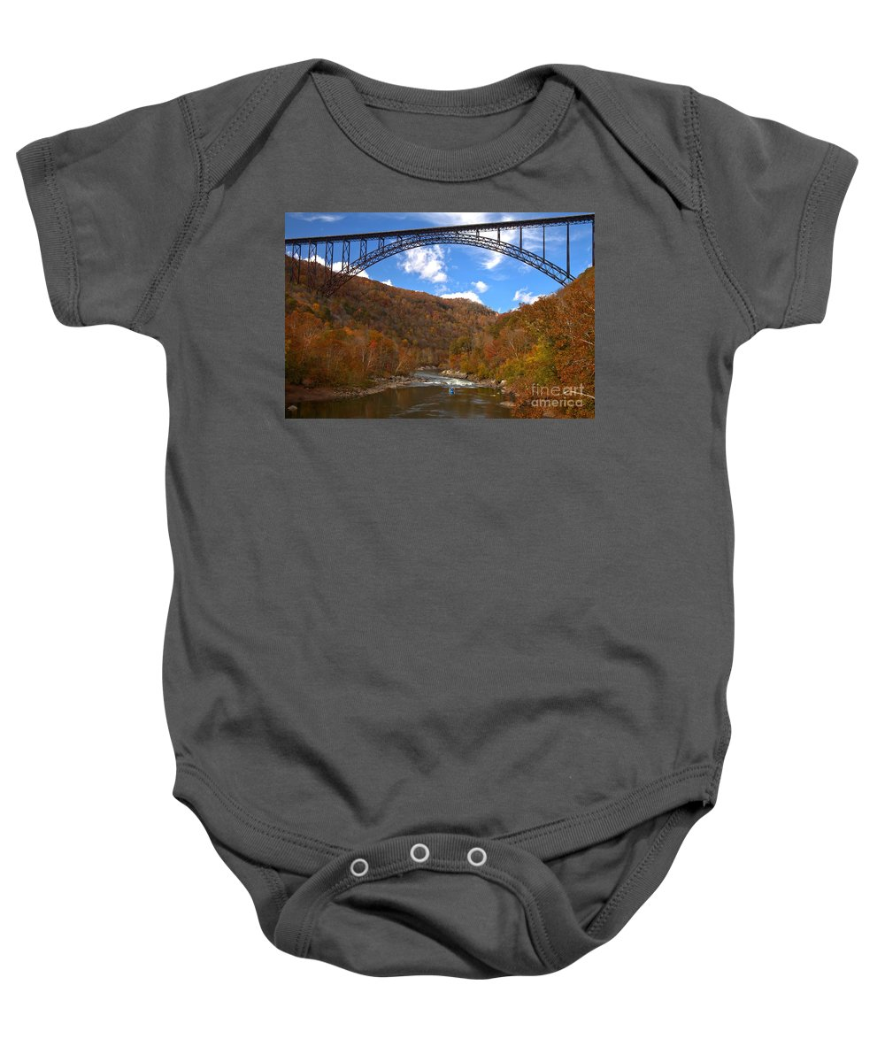 New River Gorge Baby Onesie featuring the photograph Blue Skies Over The New River Bridge by Adam Jewell