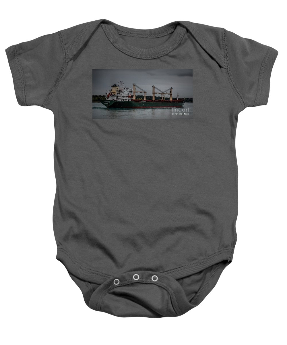 Blue Wing Baby Onesie featuring the photograph Blue Wing by Ronald Grogan