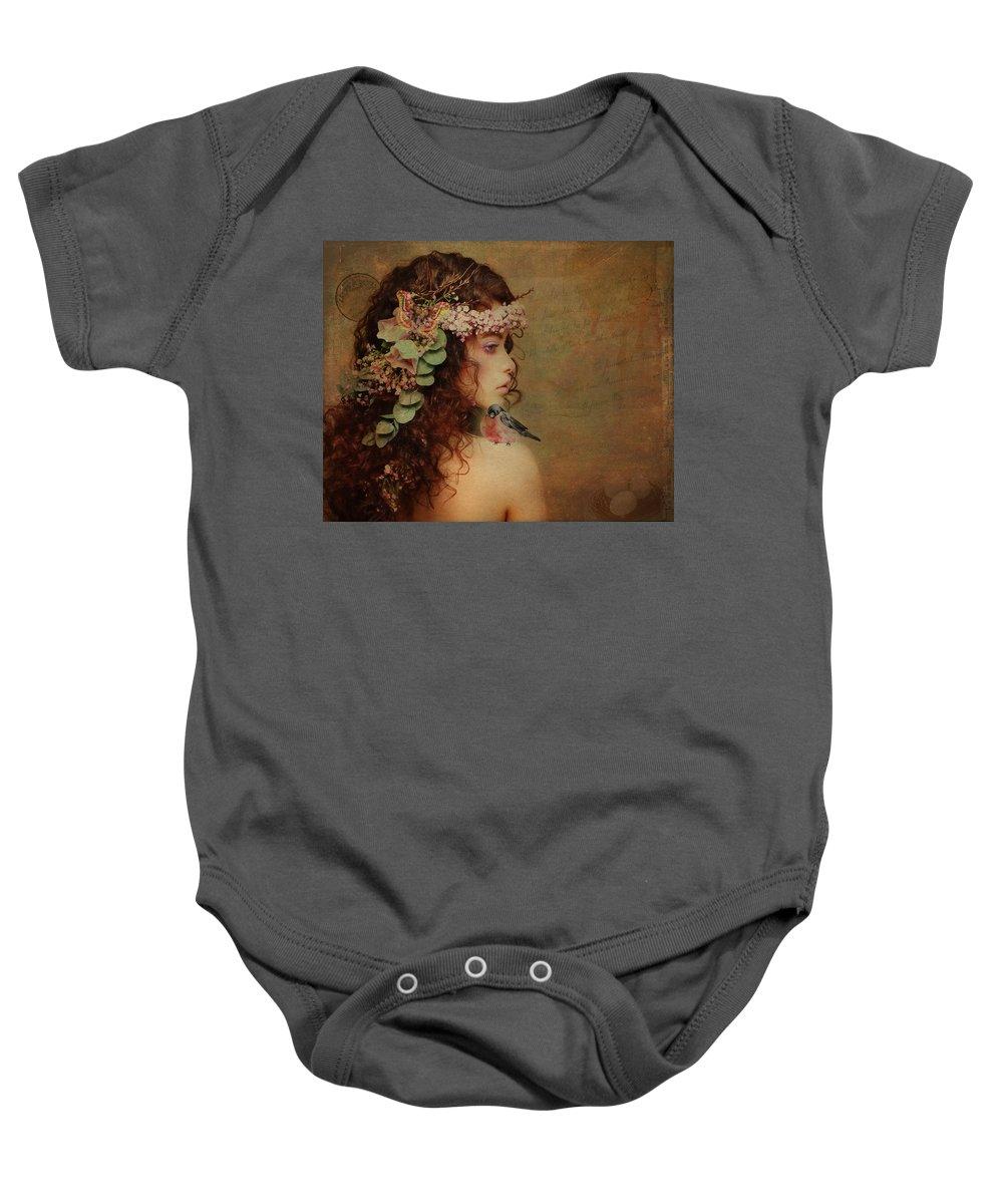 Bluebird Baby Onesie featuring the digital art Bluebird On My Shoulder Vintage by Terry Fleckney