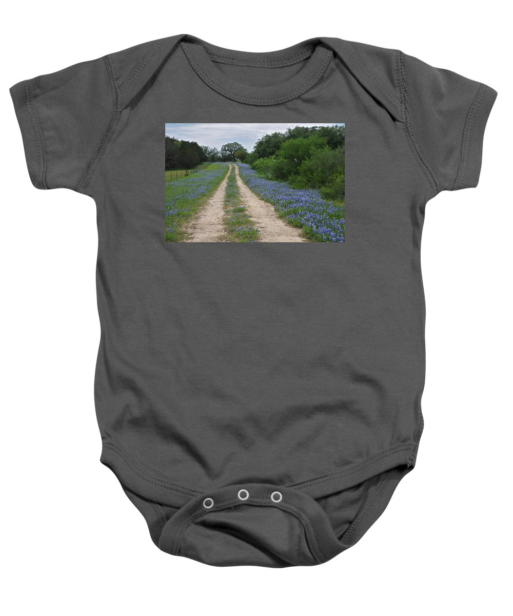 Wildflowers Baby Onesie featuring the photograph Bluebonnet Trail by Lynn Bauer