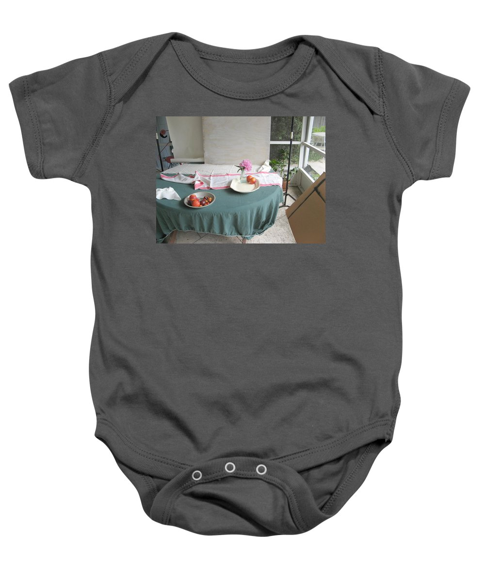 Nectarine Baby Onesie featuring the photograph Blur Bottle And Peony And Background by Rich Franco