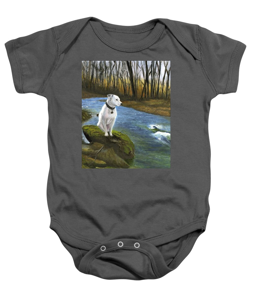 Dog Baby Onesie featuring the painting Bo At The Patapsco by Deborah Butts