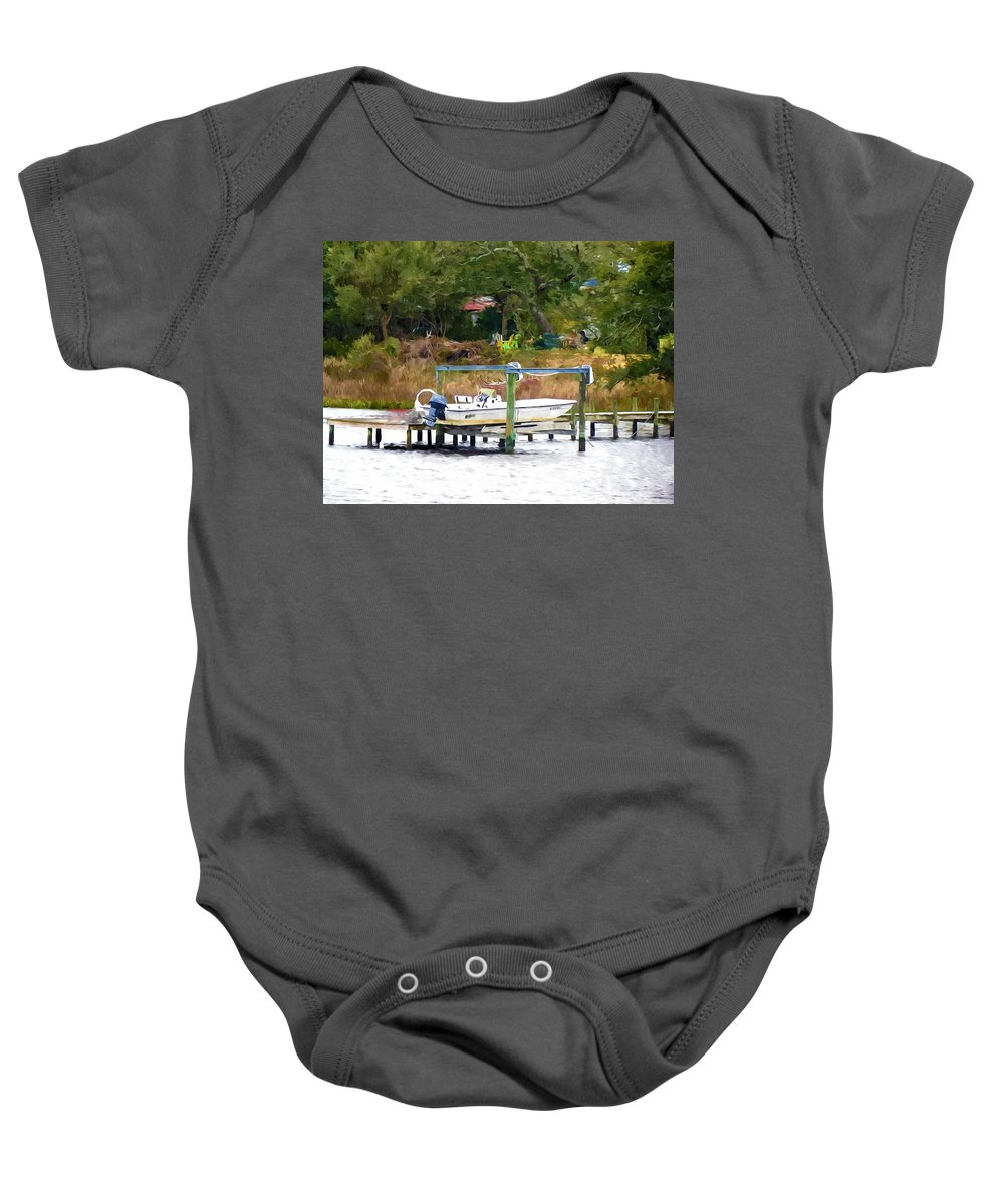 Boat Baby Onesie featuring the painting Boat On Dock by Jeelan Clark