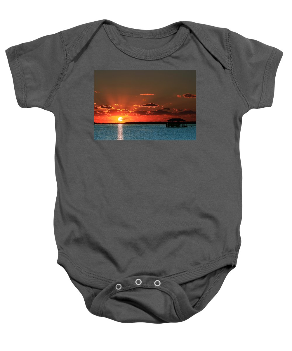 Backwaters Baby Onesie featuring the photograph Boathouse At Dawn by Pete Federico