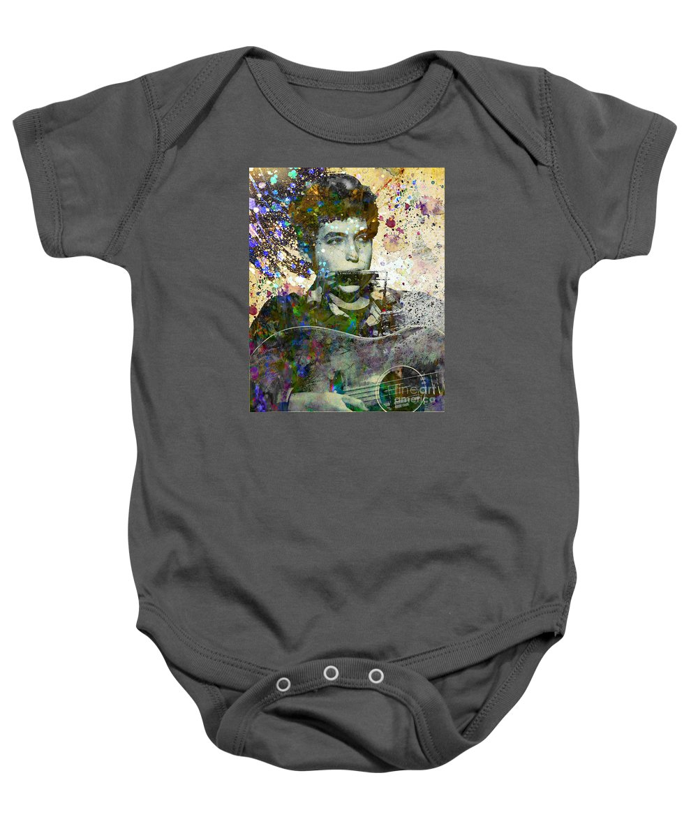 60s Baby Onesie featuring the painting Bob Dylan Original Painting Print by Ryan Rock Artist