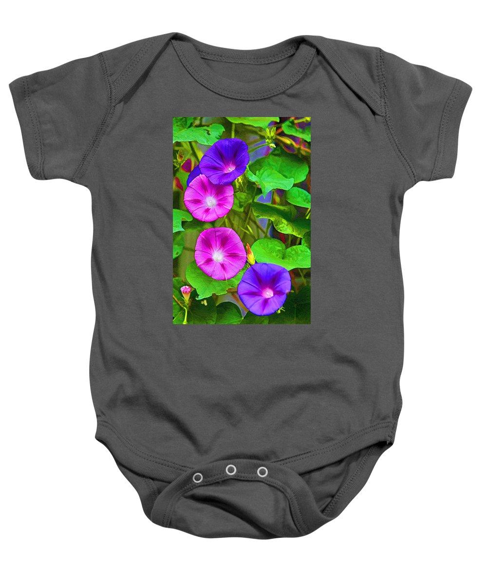 Flower Baby Onesie featuring the painting Bohemian Garden Morning Glory by John Haldane