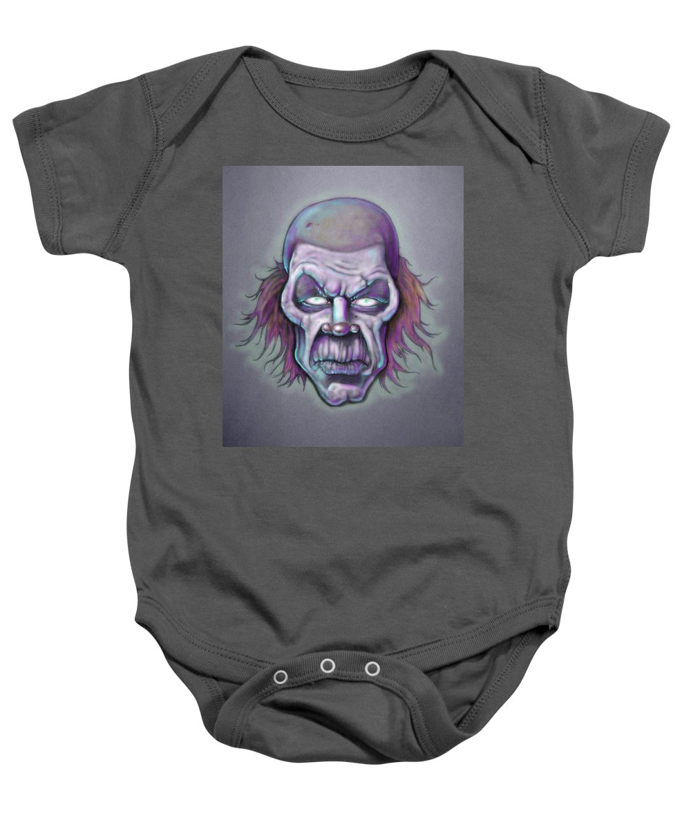 Clown Baby Onesie featuring the drawing Bonk by Lance Shaffer