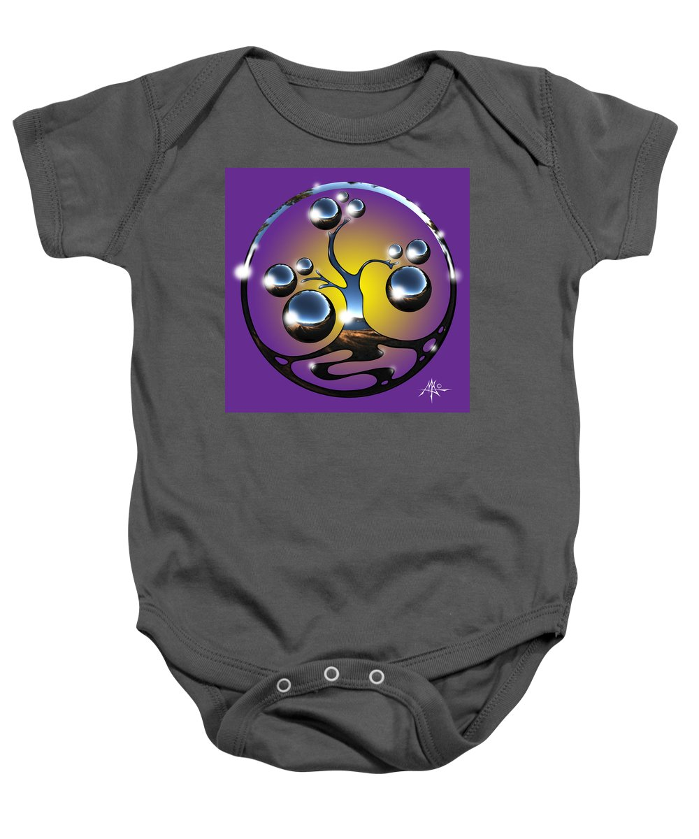 Tree Baby Onesie featuring the digital art Bonsai Chrome Logo by Robert Fenwick May Jr