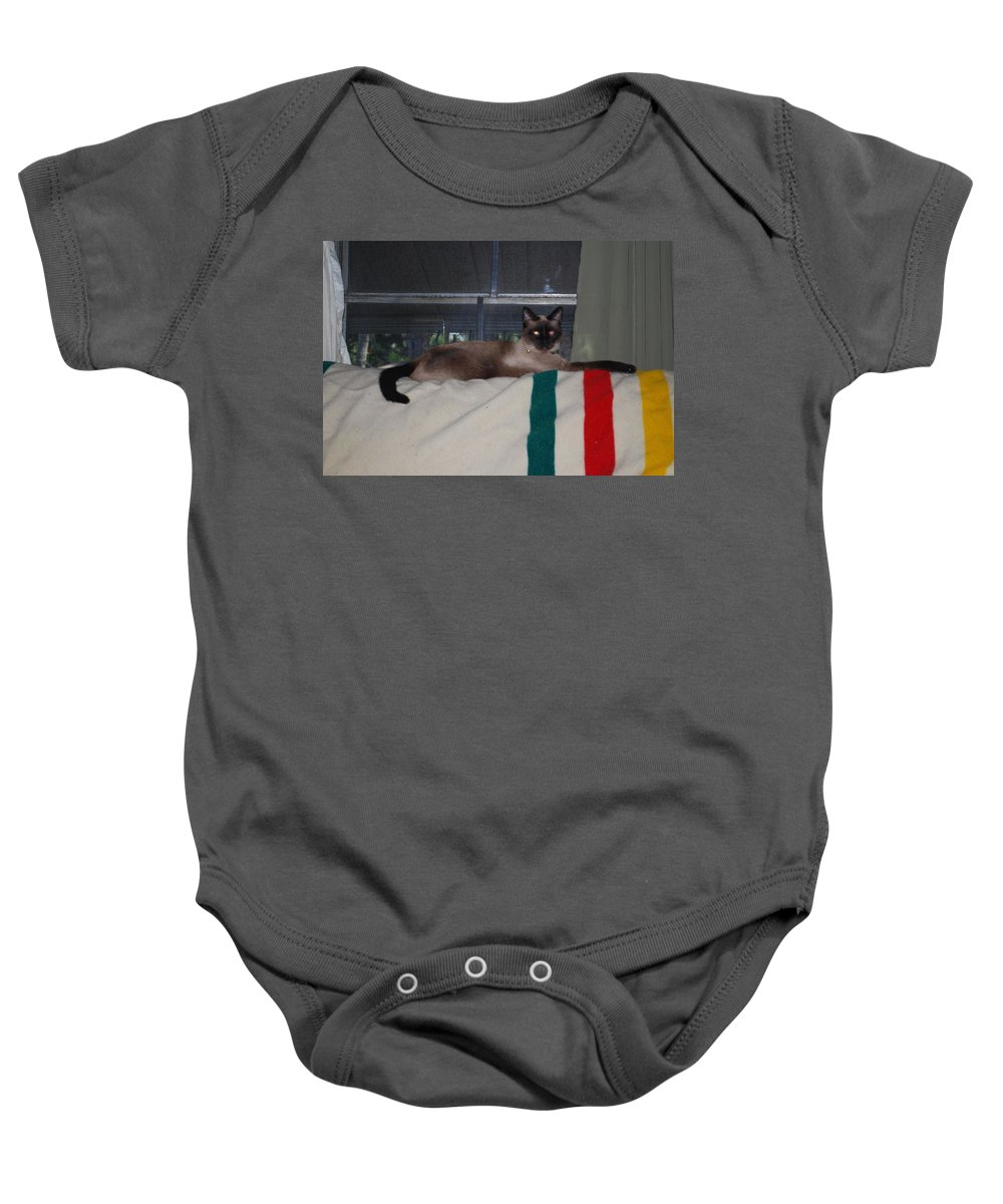 King Of The Couch Baby Onesie featuring the photograph Boss Cat by Robert Floyd