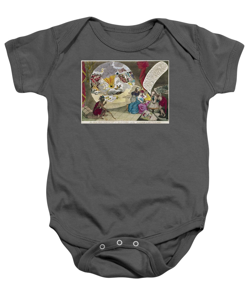 1783 Baby Onesie featuring the photograph Boston Tea Party Cartoon by Granger