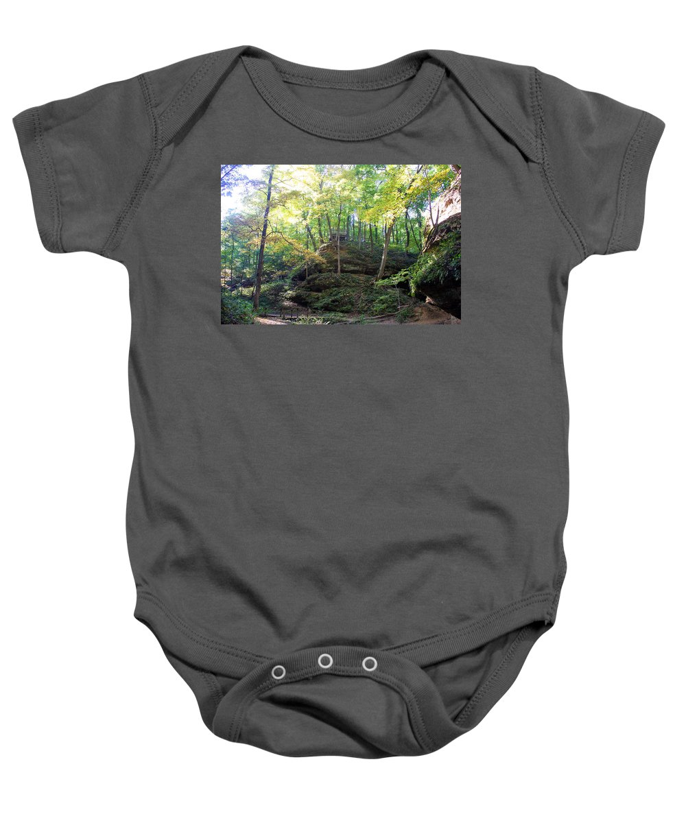 Devil's Punch Bowl Wildcat Den Muscatine Ia Baby Onesie featuring the photograph Bottom Of Devil's Punchbowl Wildcat Den by Cynthia Woods