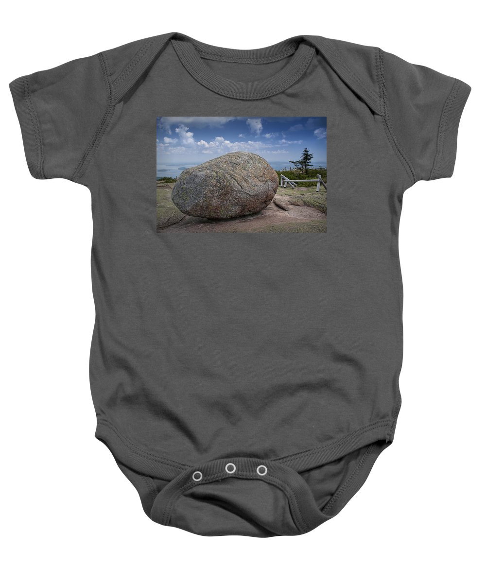 Art Baby Onesie featuring the photograph Boulder On Top Of Cadilac Mountain In Acadia National Park by Randall Nyhof