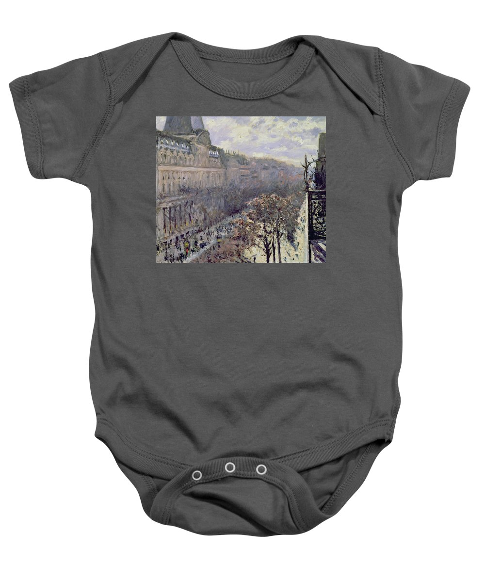 Street Scene Baby Onesie featuring the painting Boulevard Des Italiens by Gustave Caillebotte
