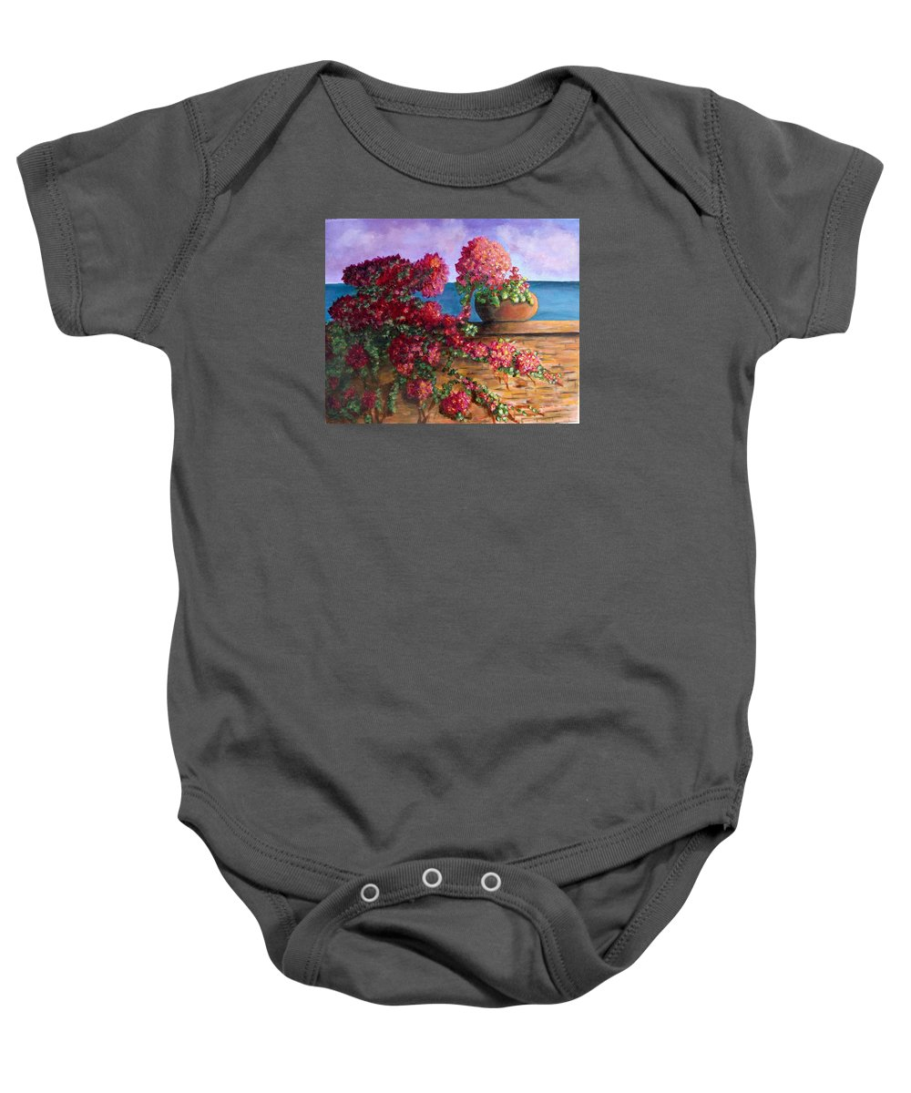 Bougainvillea Baby Onesie featuring the painting Bountiful Bougainvillea by Laurie Morgan