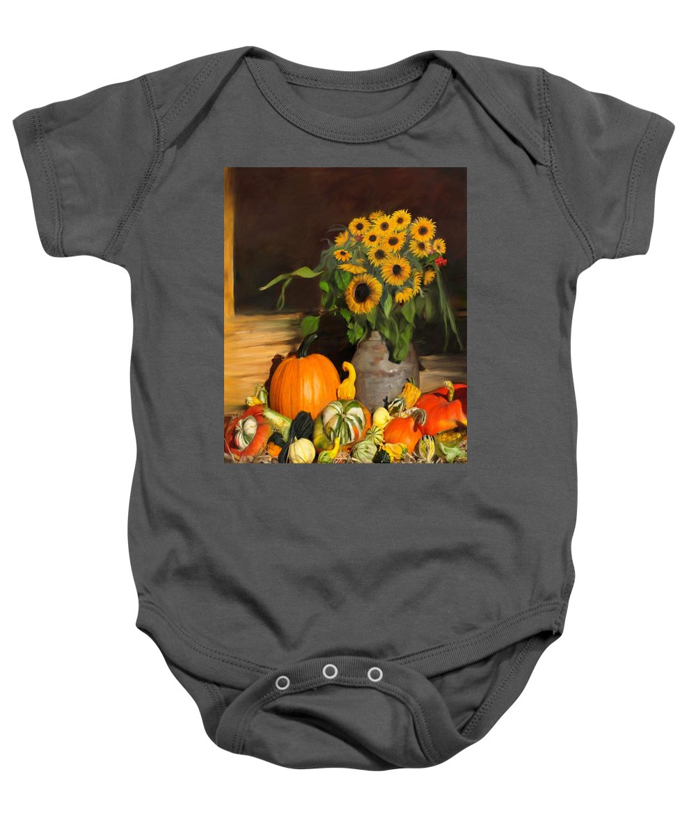 Floral Baby Onesie featuring the painting Bountiful Harvest - Floral Painting by Portraits By NC