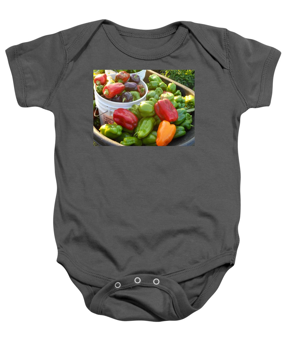 Vegetables Baby Onesie featuring the photograph Bountiful Peppers by Coleen Harty