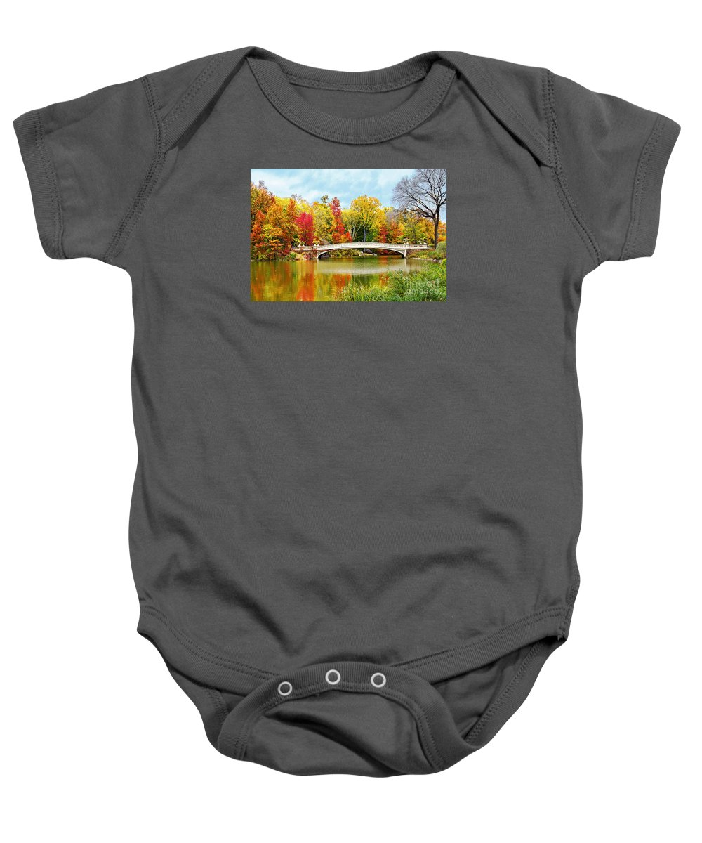 Bow Bridge Nyc Autumn Baby Onesie featuring the photograph Bow Bridge Autumn In Central Park by Regina Geoghan
