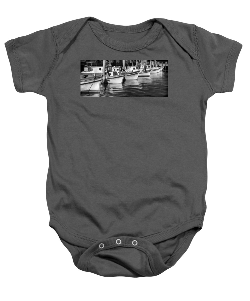 Fishing Boat Baby Onesie featuring the photograph Bows Out Black And White by Scott Campbell