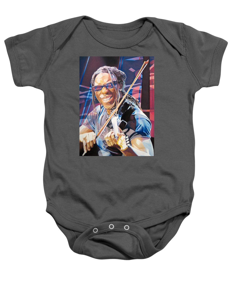 Boyd Tinsley Baby Onesie featuring the drawing Boyd Tinsley And 2007 Lights by Joshua Morton