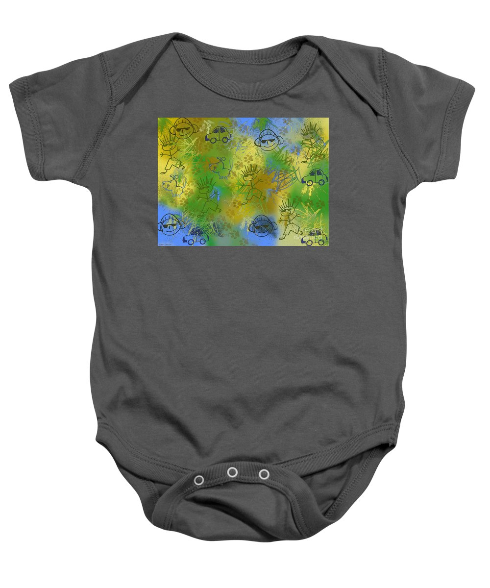 Abstract Baby Onesie featuring the photograph Boyz Only Abstract by Debbie Portwood