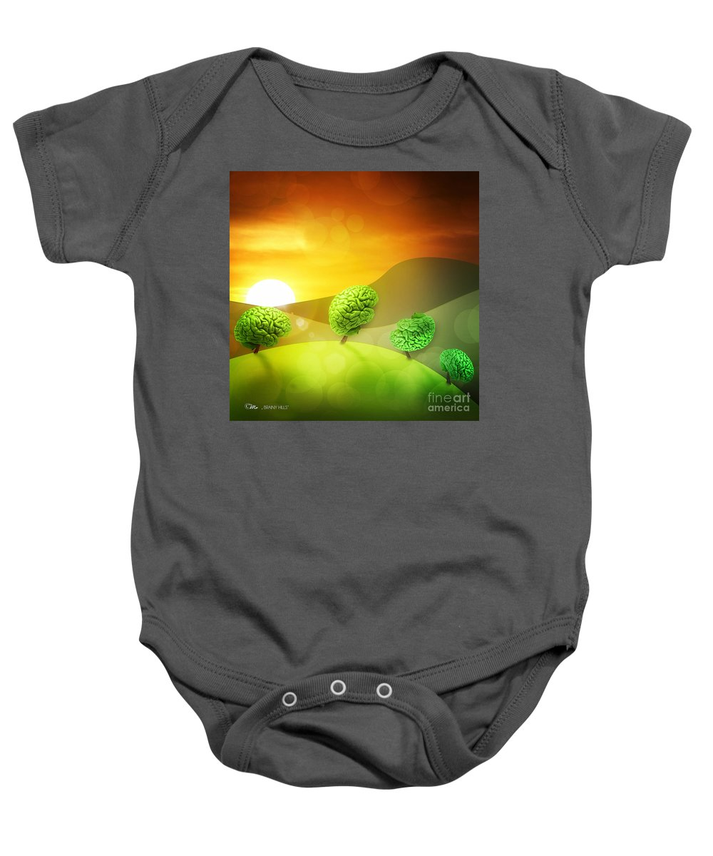 Brainy Hills Baby Onesie featuring the digital art Brainy Hills by Mo T