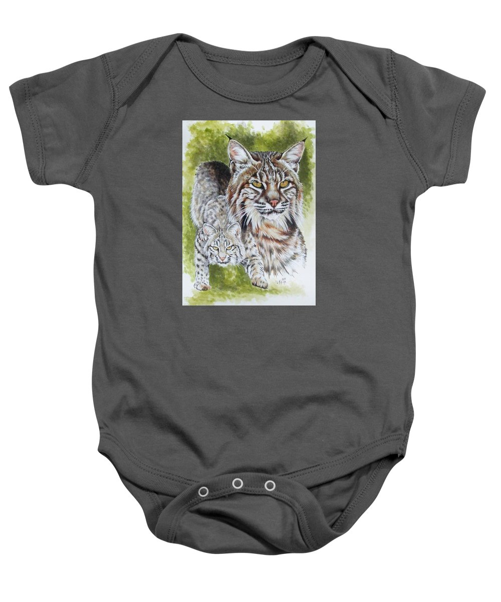 Small Cat Baby Onesie featuring the mixed media Brassy by Barbara Keith