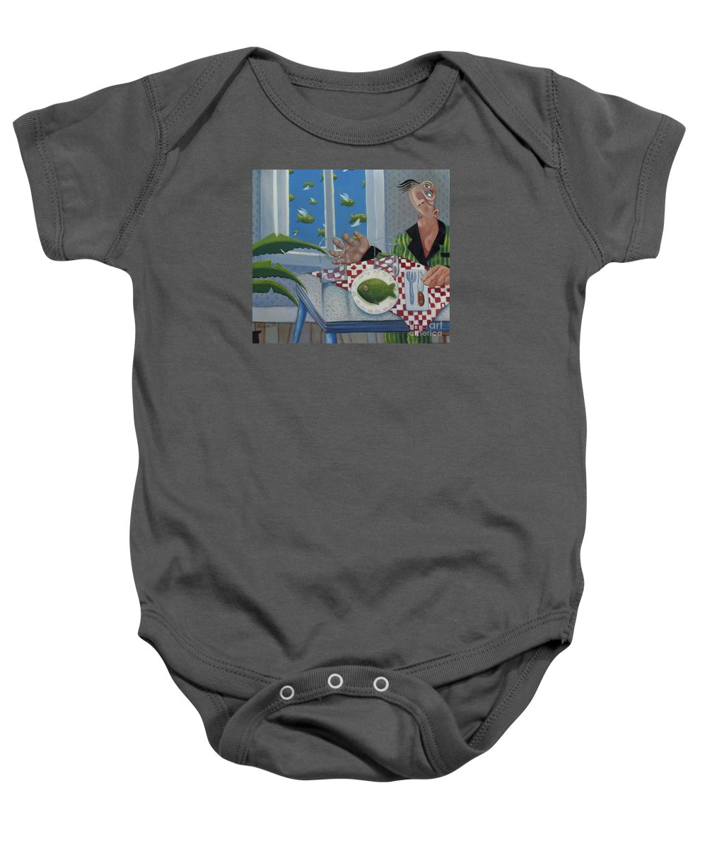 Barbados Baby Onesie featuring the painting Breakfast In Barbados 1989 by Lawrence Preston
