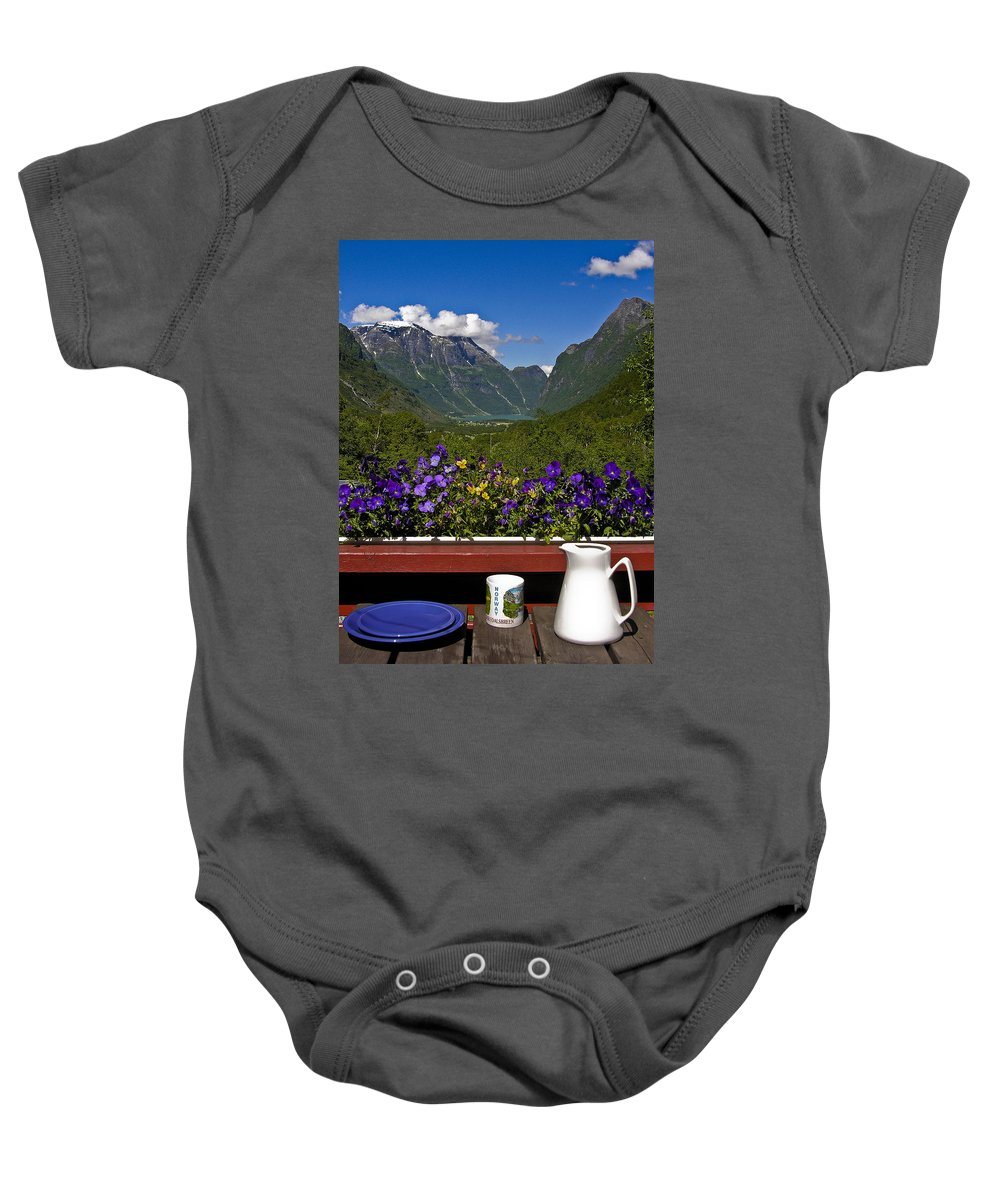 Breakfast Baby Onesie featuring the photograph Breakfast View by David Berg