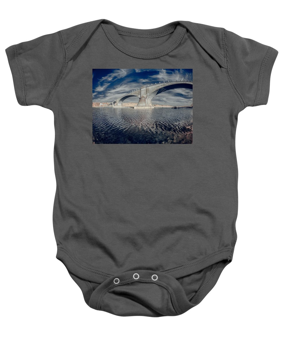 Infrared Baby Onesie featuring the photograph Bridge Curvature In Color by Greg Nyquist
