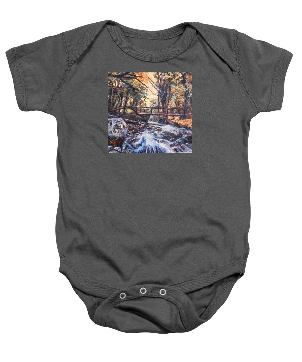 Creek Baby Onesie featuring the painting Morning Bridge In Woods by Kendall Kessler
